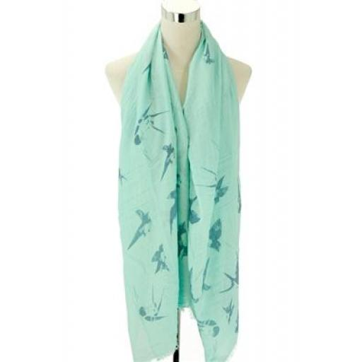 Flying Birds Print Scarf (mint green)
