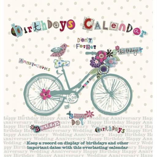 Birthdays Calendar - Bicycle