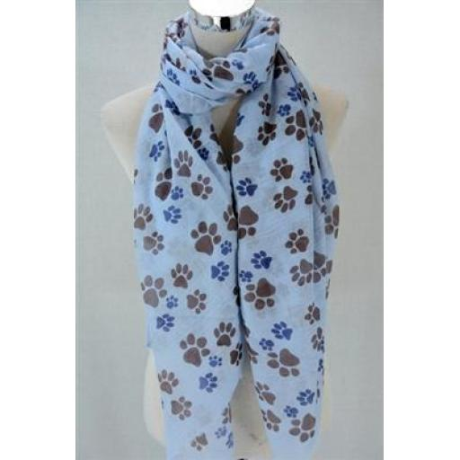 Animal Paw Print Scarf (blue)
