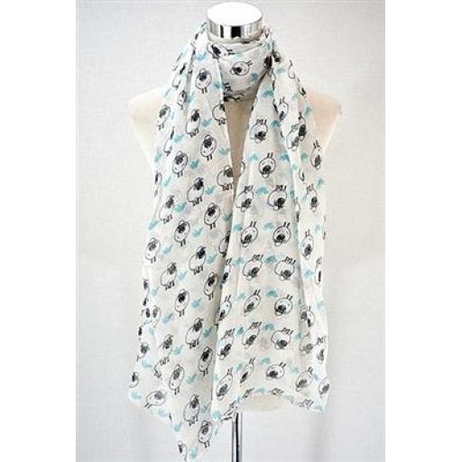 Sheep Print Scarf (cream)